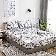 Materac ochronna przypadku dopasowane prześcieradło pokrywa marmuru łóżko pył obejmuje pojedyncze podwójne rozmiar Queen łóżko osłona poszewka na poduszkę