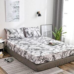 Image 1 - Matras Beschermhoes Hoeslaken Cover Marmer Bed Stofkap Enkele Dubbele Queen Size Bed Bescherm Cover Kussensloop