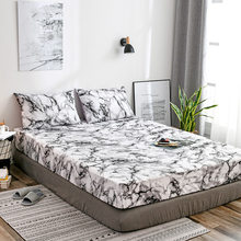 Mattress Protective Case Fitted Sheet Cover Marble Bed Dust Cover Single Double Queen Size Bed Protect Cover Pillowcase(China)