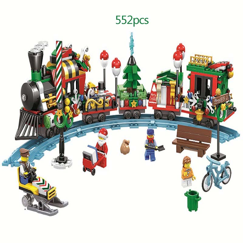 Lego Christmas Set 2019.Us 13 69 19 Off 522pcs 2019 Christmas New Christmas Train Winter Village Santa Series Building Blocks For Children Toys Christmas Gifts In Blocks