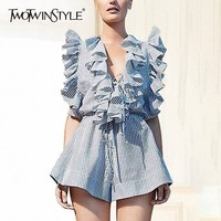 TWOTWINSTYLE Summer Striped Women Jumpsuit Sleeveless V Neck High Waist Bandage Ruffles Playsuits Female Fashion 2019 Casual
