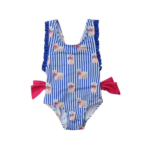 Cute Kids Baby Girl Striped Swimwear Summer Ruffles Bodysuits Bow Dog Print Sleeveless Lace Backless Swimsuit Beachwear 1-6Y