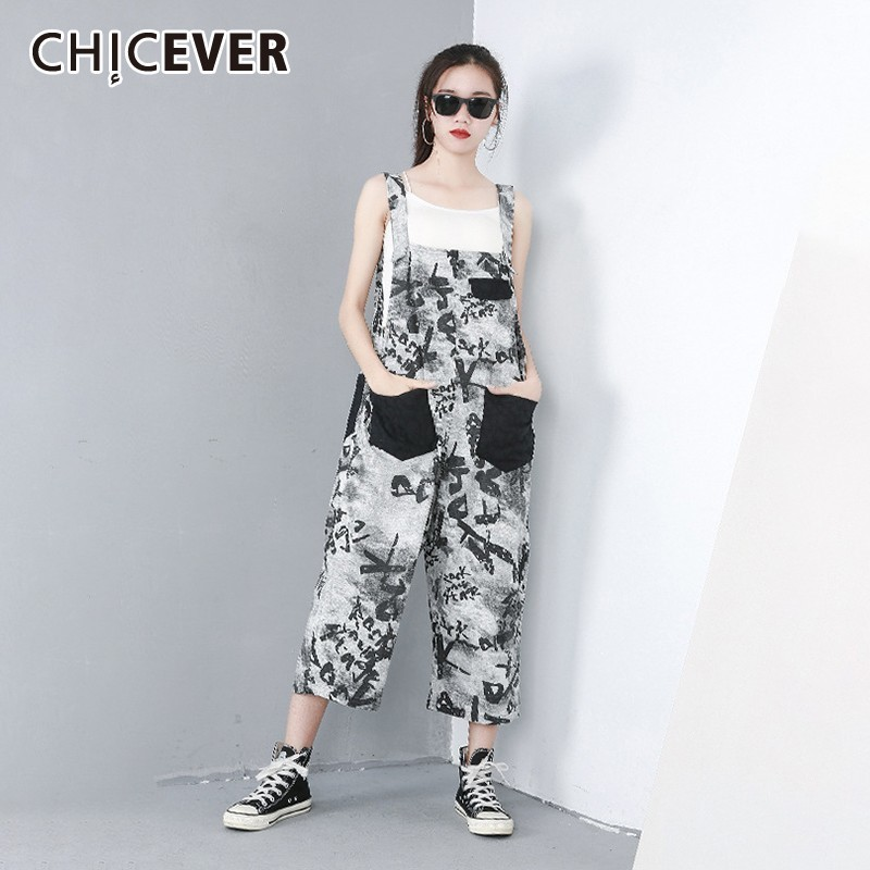 CHICEVER Spring Patchwork Letter Hit Color Women Pants Pockets Loose Slim Ankle-length Female Overalls 2019 Fashion New