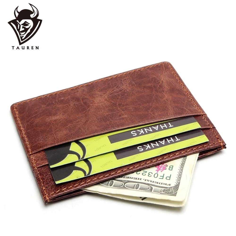 2019 Пътуване RFID портфейл карта притежател Vintage 100% естествена кожа Porte Carte предния джоб Slim Card портмоне притежател на кредитна карта