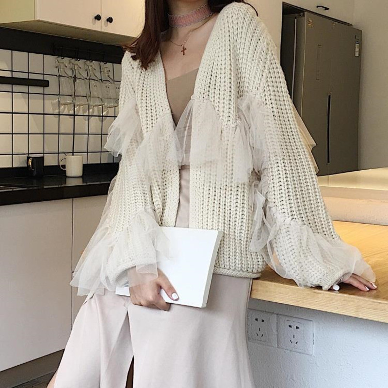 LANMREM 2019 Women Autumn Spring Fashion Mesh Patchwork V-neck Collar Knitting Sweater Solid Color Open Stitch Tops M26500