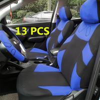 13pcs Car Seat Cover Set Auto Vehicle Cushion Protector with Steering Wheel Wrap Shoulder Belt Pads