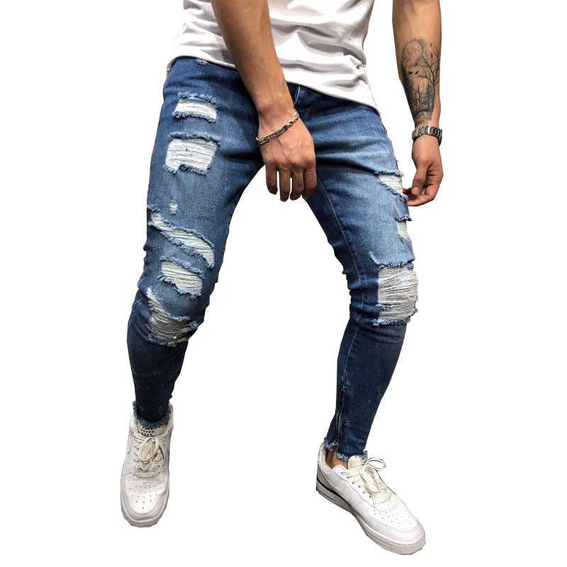 d2ea894aa2d84 Men Ripped Skinny Jeans White Side Stripe Jeans Stretch Slim Fit Elastic  Biker Jeans Male Big