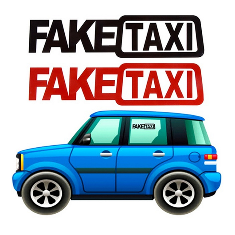 Faketaxi auto van vinyl funny universal sticker voiture decal decoration 2018 20x5cm for volkswagen for ford 2 car styling in car stickers from automobiles