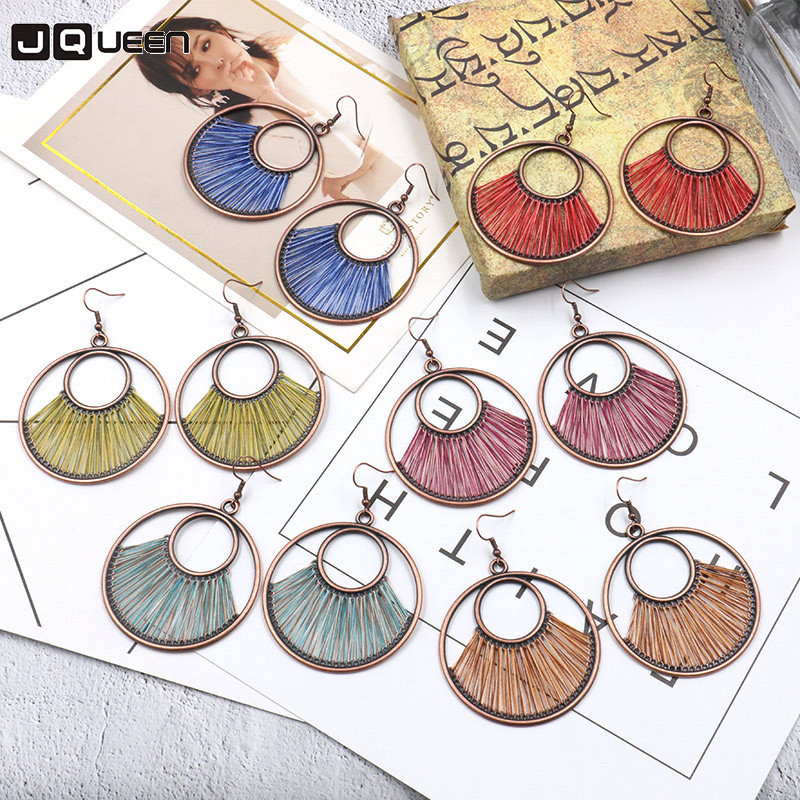 Round Metal Big Pendant Earrings Female Ethnic Circle Handmade Colorful Hollow Thread Silk Dangle Earring Fashion Women Jewelry