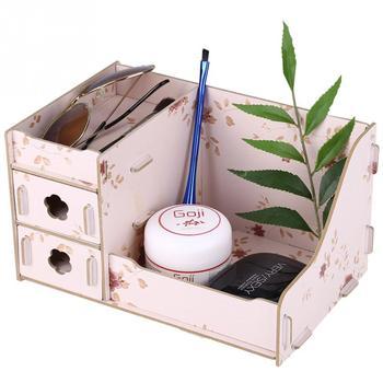 Jewelry Storage Organizer Wood Makeup Organizer Home Office Storage Box for Cosmetics Box Desktop Wooden Make Up Box makeup organizer box