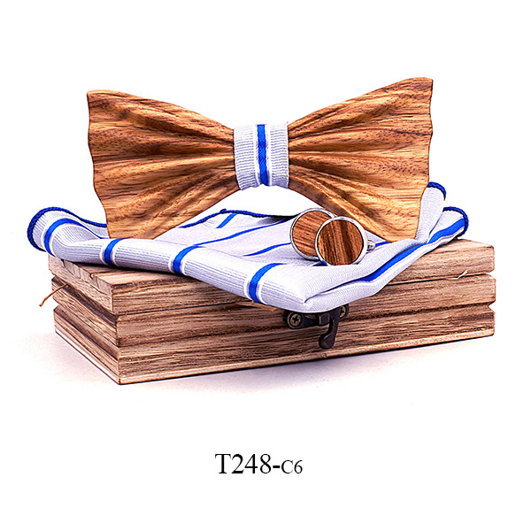 3D zebra wood embossed handmade solid wood bow tie tie collar flower cufflinks square towel set solid wood quality manufacturers