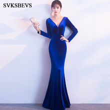 SVKSBEVS 2019 Sexy Beading Deep V Neck Velvet Mermaid Long Dresses Party Sleeve Sequined Backless Maxi Dress