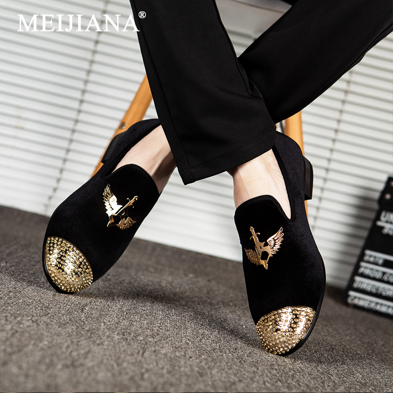 MEIJIANA Men s Loafers 2019 New Wing Type Metal Buckle Fashion Brand Men s Shoes Handmade