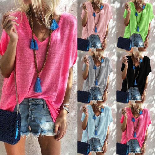 Camiseta de primavera para mujer, camiseta de verano, Top con cuello en V, camisa suelta de manga corta, sólido S-XXL para mujer, camisetas sueltas de Color caramelo ropa superior