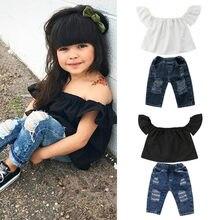 1f116eb435f176e 2019 г., Модный комплект одежды для маленьких девочек, футболка с открытыми  плечами Топы