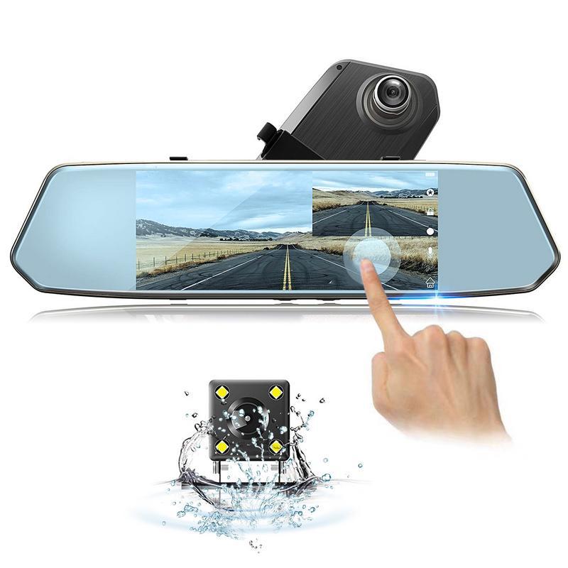 Enregistreur de voyage rétroviseur voiture DVR 7 pouces HD écran tactile piste Offset Microphone intégré enregistreur de conduite