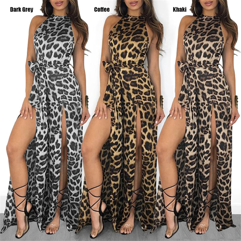 Celmia Women Leopard   Jumpsuits   2019 Summer Sexy Sleeveless Long Rompers Split Halter Wide Leg Pants Belted Loose Overalls S-5XL
