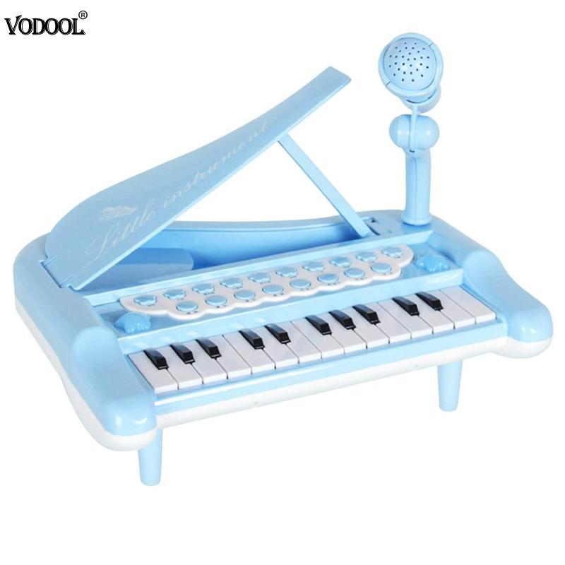Kids Mini Instrument Simulation Electronic Piano with Microphone Toy (Blue)