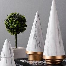 Nordic Geometric Modern Ornaments Christmas Tree Ceramic Decoration Minimalist Living Room Desktop Craft Marble Pattern ornament