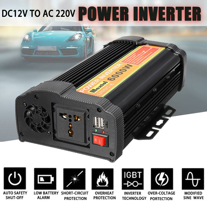 USB Inverter 12V 220V 12000W Peaks 6000W Auto Modified Sine Wave Voltage Transformer Solar Power Inverter Converter Car Charge