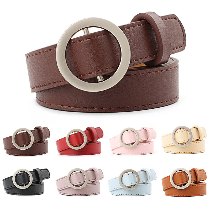 Trendy Circle Pin Buckles Belt for women vintage girls pants off white navy pu leather belt fashion womens clothing accessories