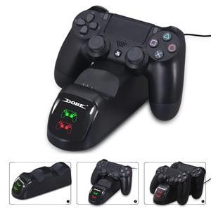 Image 2 - Gamepad carga rápida PS4 Dock cargador de controladores Dual soporte de estación Base de carga para PS4/Pro/Slim