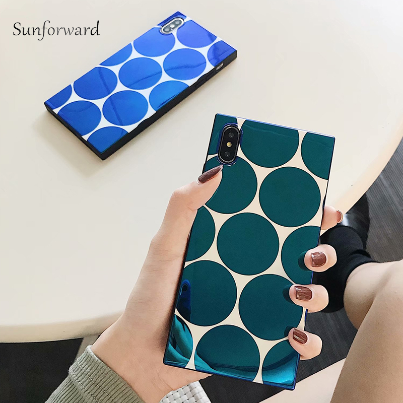 half off adecf 9e81d US $4.08 |Luxury Abstract Phone Capa Case For iPhone X Casas XR XS MAX  Square Blue Light TPU Soft For iPhone 7 8 6s 6 Plus Cover Cute-in Fitted  Cases ...