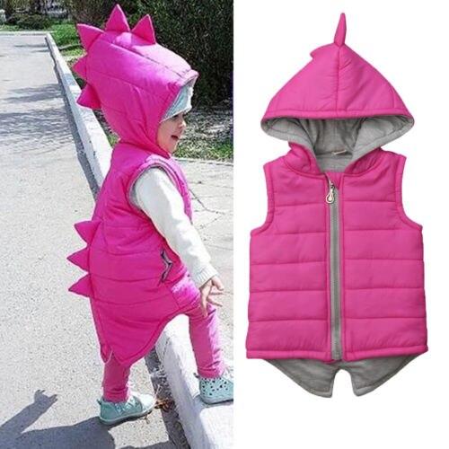 Winter Warm Kids Baby Girl Cotton-padded Dinosaur Hooded Jacket Waistcoat Vest Coat Outwear Clothes 0-5T