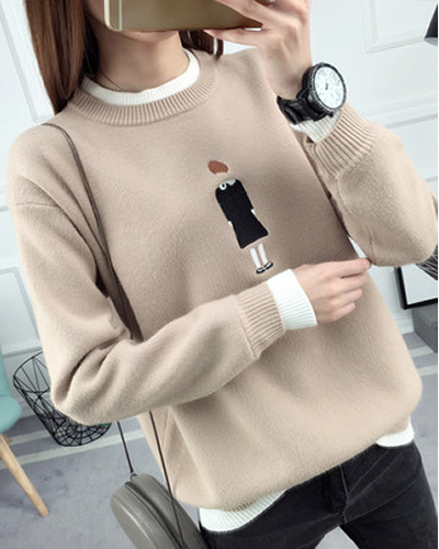 La MaxZa Sweater Women's O Neck Embroidery Loose Top 2018 Autumn Winter New Style Fashionable False Two Sweaters Pullover 1753