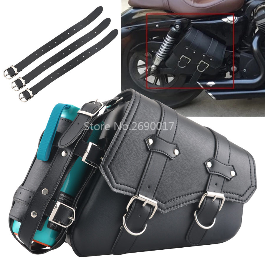 Motorcycle Black Solo Swing Bag Saddlebags With Drink Holder UV Protected Heat Guard Fits For Harley