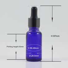 20ml hair oil dropper bottle, Blue glass bottle with black d
