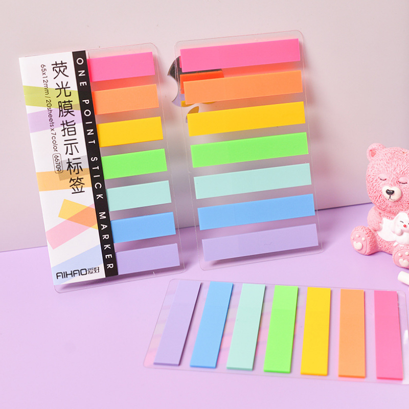 1 Pcs Color Fluorescence Transparent Memo Pad Planner Sticky Note Paper Sticker Kawaii Office Stationery 7 Colors 140 Sheets