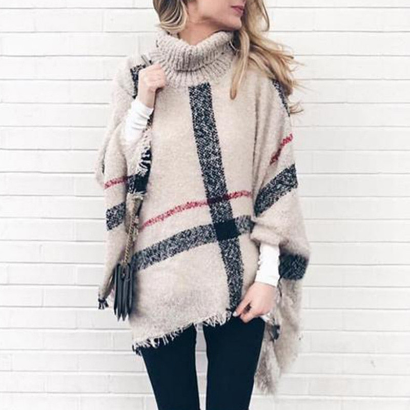 Turtleneck Sweater Winter Coat Women Plaid Tassels Shawl Knitting Jmuper Pull Hiver Femme Pullover Ponchos And Capes Rz*