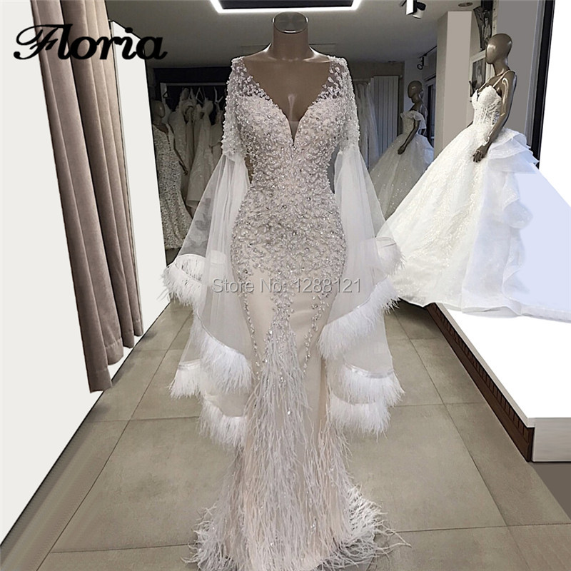 Robe de soiree Beading Feathers Evening Dresses For Weddings 2019 Middle East Aibye Prom Dress Arabic Dubai Mermaid Party Gowns