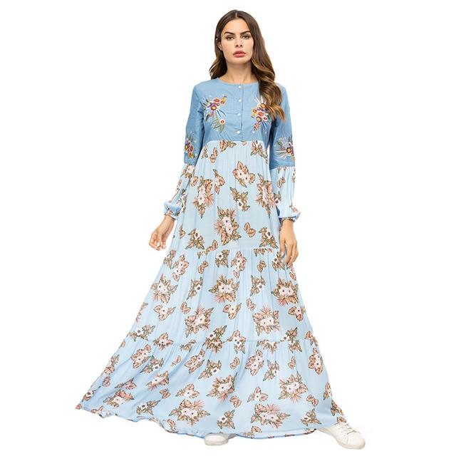 Wipalo Boho Стиль Цветочный Принт Длинное Платье женское вискозное лоскутное с длинным рукавом o-образным вырезом платье макси повседневные расклешенные винтажные платья для вечеринок
