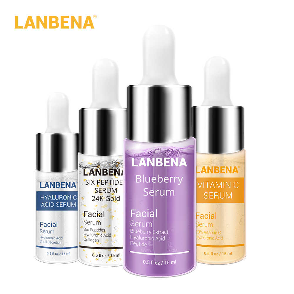 LANBENA Blueberry+hyaluronic Acid+vitamin C+24k Gold Six Peptides Serum Whitening Anti-aging Moisturizing Skin Care set (4pcs)