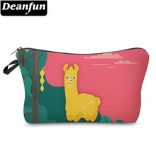 Deanfun Waterproof Green Tree Llama Cosmetic Bag Durable Red Sun Alpaca Makeup Necessaire Gift  51374 #