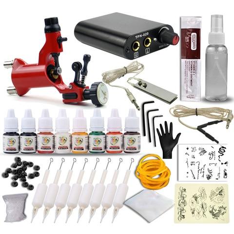 pro dragonfly rotary tattoo machine gun shader liner kits de alimentacao 8 cores sortidas tatoo