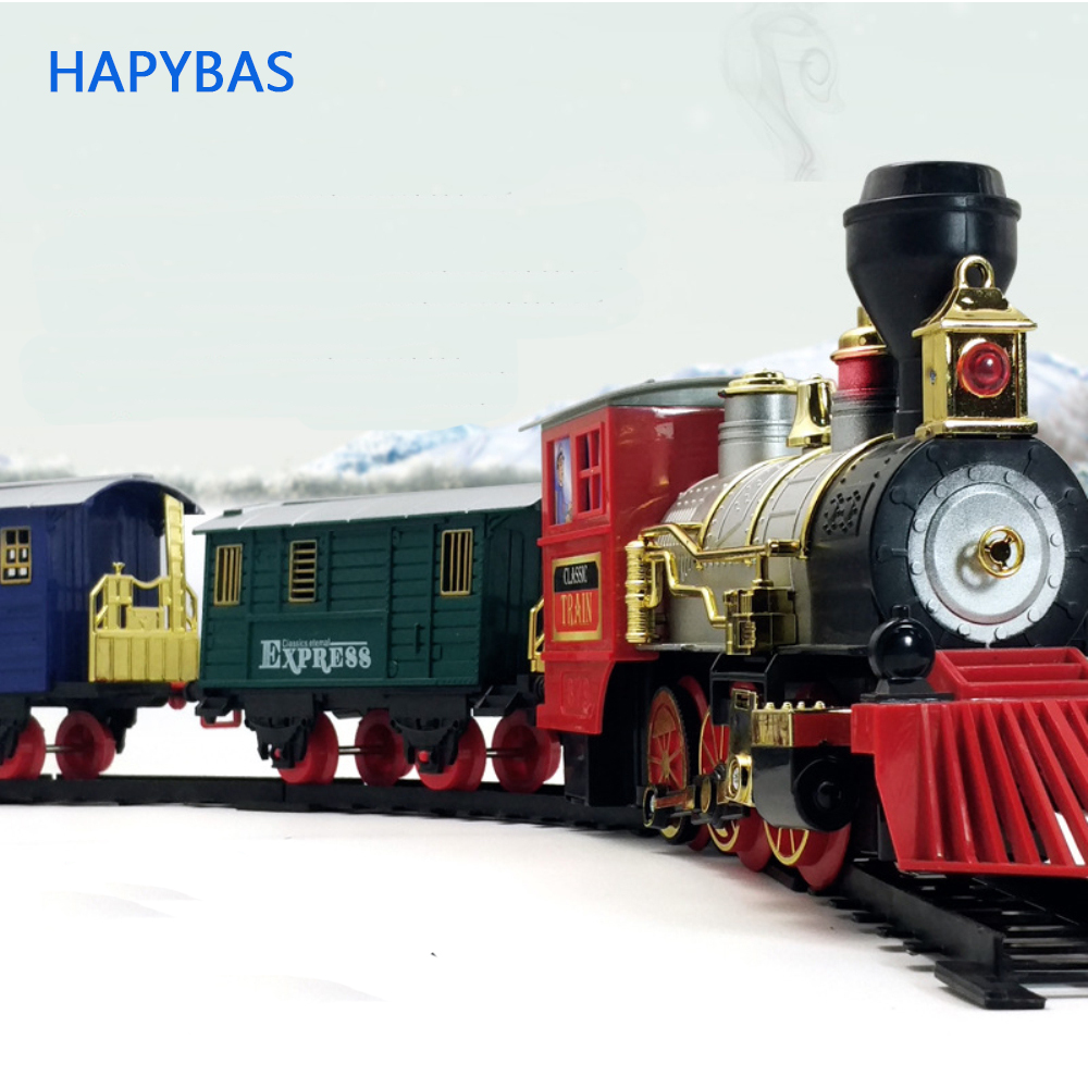 Electric Train Toys Long Rail Track Set With Light Sound Classic Steam Train Toys DIY Stitching Educational Toy Christmas Birt