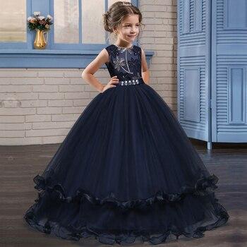 27dcee854 Formal elegante vestido para niña bordado boda fiesta de tul vestidos de  primera comunión adolescente 8