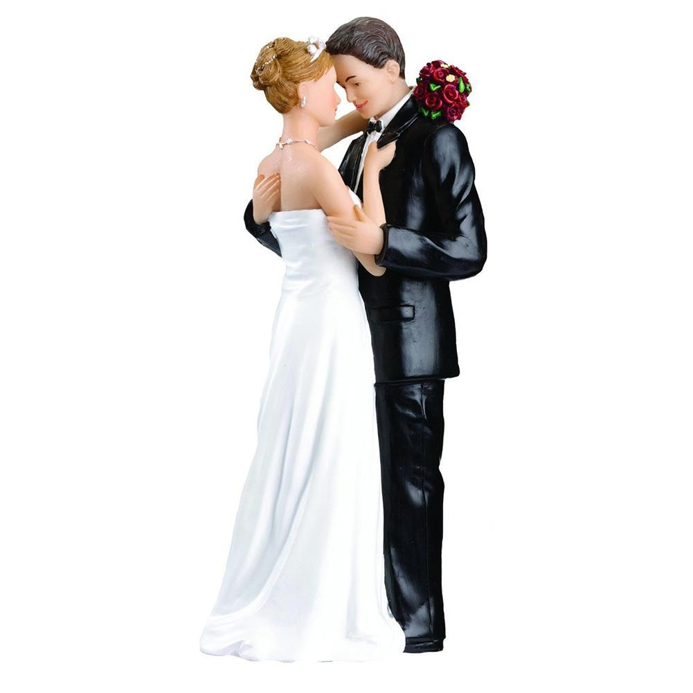 Adeeing Creative Decorative Romance Wedding Anniversary Cake Topper Couple Wedding Ceremony Bride Groom Marriage Resin Figurine
