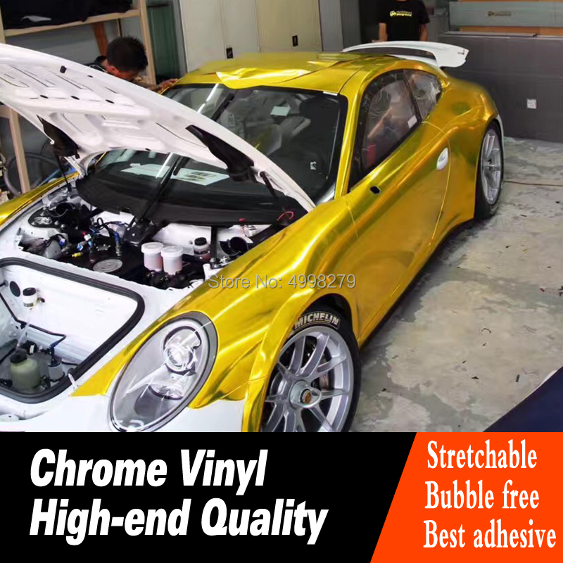 La plus haute qualité Chrome miroir vinyle Wrap Film voiture autocollant décalque bulle libre Air libération pour voiture haut de gamme pas de résidu de colle
