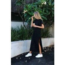 2019 new women's solid color side slit dress European and American long round neck loose short-sleeved dress недорго, оригинальная цена