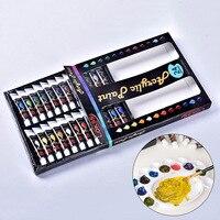 24 цвета 12 мл Акриловая жидкость набор краски водостойкий пигмент для стеклянной ткани инструменты для рисования школьные канцелярские тво...