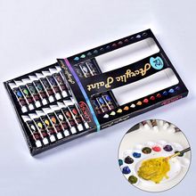 24 Colors 12ml Liquid Acrylic Paint Set Water-resistant Pigment For Glass Fabric Drawing Tools School Stationery Art Supplies
