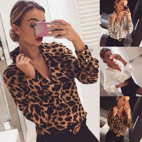 Nuevas mujeres leopardo piel de pitón estampado manga larga suelta botón abajo camisas OL moderno cuello pico blusa Casual Tops