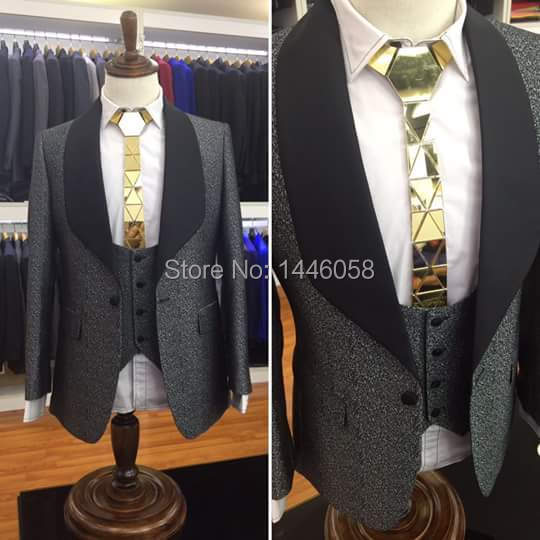 (Jacket+Pant+Vest) Men Suits For Wedding 2019 Custom Made Classic Shiny Grey Wedding Prom Suits Groomsmen Groom Mens Tuxedo