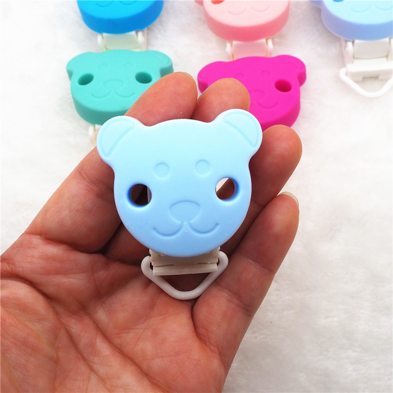Chenkai 50pcs Silicone Bear Clips DIY Animal Baby Teether Pacifier Dummy Montessori Sensory Jewelry Holder Chain Toy Clips in Baby Teethers from Mother Kids