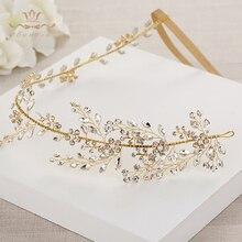 Wedding Handmade Gold Hairbands Brides Korean Soft Rhinestone Tiara Headwear Crystal Hair Jewelry
