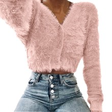 2018 Fall Spring Women Plush Sweater Crop Tops Knit Long Sleeve High Street Stylish Cardigan S-2XL(China)